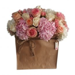 Floral Bag With Mixed Flowers, Peach,White, Pink
