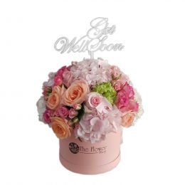Round Floral Box And Roses Flowers Pink,Peach With Get Well Soon