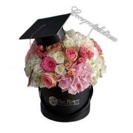 Black Box With Multi Colour Flowers - Graduation Theme - With Congratulations