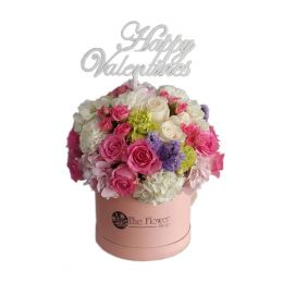 Floral Pink Round Box with Mixed Roses Flowers And Happy Valentines