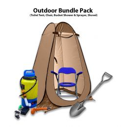Outdoor Bundle Pack Toilet Tent and Chair, Water Container, Showel