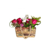 Fresh Flowers In Wooden Bag, 30 cm