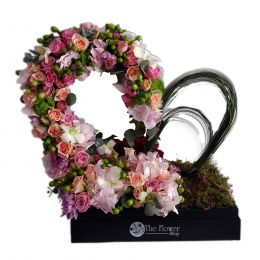 Floral Heart Shaped Mixed Flowers With Steal Grass