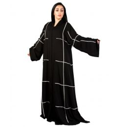 Darz PB18000 Classic Abaya With White Piping