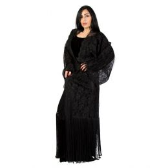 Darz PB18004 Open Abaya, Black, Free Size