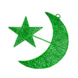 Glitter Helal And Star Hanging Decoration, Green