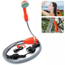 Portable Camping Shower Camping Shower Outdoor Shower Pump Camp Shower Handheld Camping Showerhead Powered ORANGE